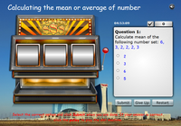 Calculating the mean of number sets sot machine game, calculating the average of number sets game for kids