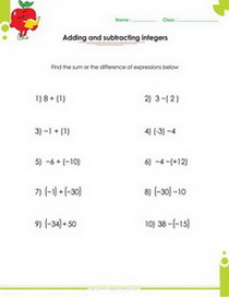 Algebraic expressions pdf printable worksheets with integers