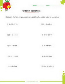 algebraic expressions pdf printable worksheets with integers order of operation worksheets with answers