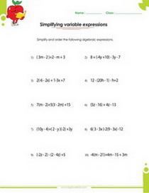 Algebraic expressions pdf printable worksheets with integers