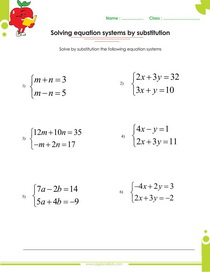 math worksheet : solving systems of equations by elimination or by substitution  : Substitution Math Worksheets