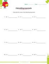 Exponents Worksheet Addition With