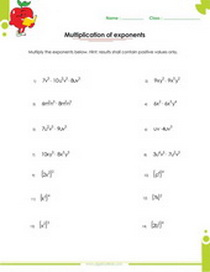 math worksheet : factor fractions and exponents worksheets for 7th grade students : Exponents And Multiplication Worksheets