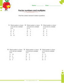 Factor, fractions and exponents worksheets for 7th grade students