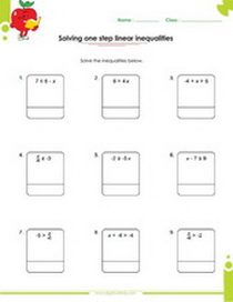 Solving one, two and multi step inequalities worksheets