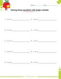 Solving linear equations with one variable worksheet, single variable linear equation worksheet