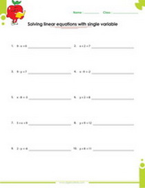 solve linear equation worksheet with addition and subtraction - Solving Linear Equations Worksheet