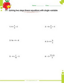 Solving two step linear equations worksheet
