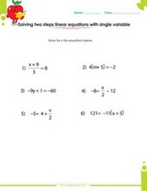 Solving linear equations with fractions worksheet, two step linear equations worksheet
