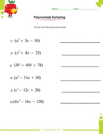 Worksheets Polynomials Worksheet With Answers factoring polynomials worksheets with answers and operations worksheet answers