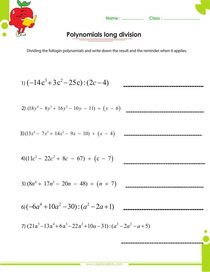 Long Division Activity {Dividing Polynomials Activity Worksheet}