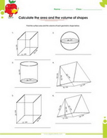 Triangular Prism Area Worksheets