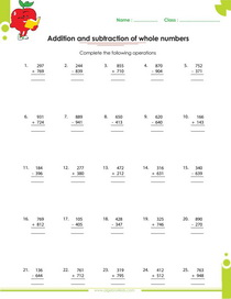 Whole numbers worksheets for kids from grade 1 through 6
