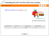 How to calculate the greatest common factor of numbers of numbers, decomposing a number into its prime factors math quiz for kids, calculating the least common multiple of a number algebra quiz for children, GCF calculation algebra for kids quiz, how to calculate the LCM algebra 4 children quiz