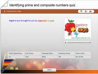 What is the difference between a prime number and a composite number algebra quiz for kids, identifying the prime numbers and composite numbers math quiz for children, knowing which number can be decomposed or not into prime factors